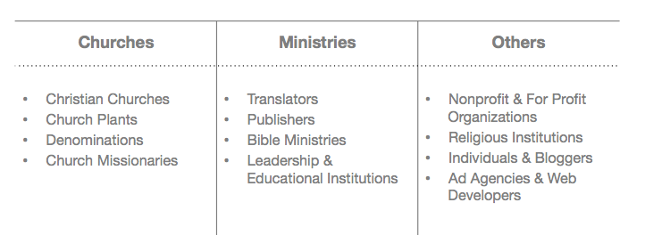 churches, ministries, others