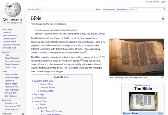 Wikipedia entry for Bible