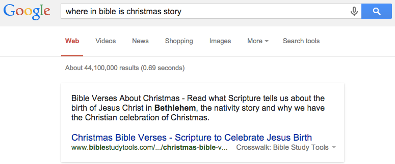 birth and its currently featured as the most relevant web page as seen in this response to a google search query where in bible is christmas story